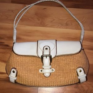 BCBGirls White/Straw/Rattan Purse w/Double Strap
